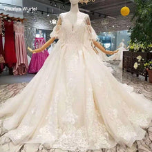 Load image into Gallery viewer, detachable train wedding dresses with big bow spaghetti straps wedding gown with removable train back bride dress wedding