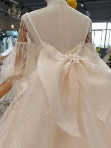 detachable train wedding dresses with big bow spaghetti straps wedding gown with removable train back bride dress wedding