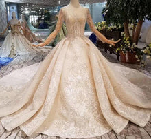 Load image into Gallery viewer, New material wedding dresses with royal long train o-neck long sleeve luxury handmade bride wedding gown fashion