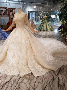 New material wedding dresses with royal long train o-neck long sleeve luxury handmade bride wedding gown fashion