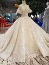 Load image into Gallery viewer, champagne lace wedding dresses short flare sleeves sexy v-back wedding gown elegant