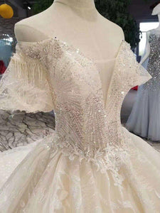 champagne lace wedding dresses short flare sleeves sexy v-back wedding gown elegant