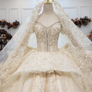 Luxurious Pretty Champagne Sweetheart Crystal Wedding Dress Ball Gown Short Sleeverobe de mariage manche longue