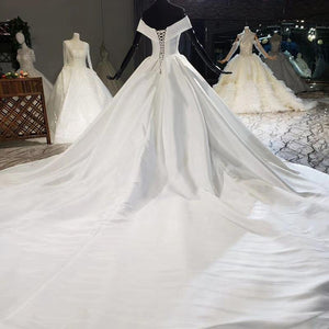 Simple Off White Satin Sweetheart Bow Wedding Dresses Off The Shoulder Ball Gowns sukienki dlugie na wesele