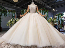 Load image into Gallery viewer, ball wedding dresses ruffle train o neck sleeveless bead wedding gowns royal train new fashion vestido de noiva