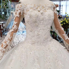Load image into Gallery viewer, boho wedding dress western style  boat neck lace up back ball gown bridal dress up gown