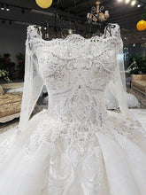 Load image into Gallery viewer, luxury sexy lace up 3D flowers long tail three quarter white wedding dress