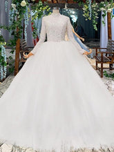 Load image into Gallery viewer, wedding dress long sleeves high neck bead zipper wedding gowns for bride with sleeve