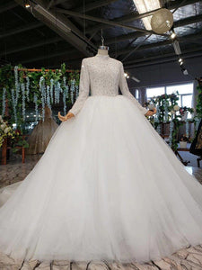 wedding dress long sleeves high neck bead zipper wedding gowns for bride with sleeve