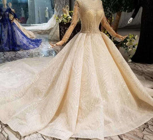 handmade wedding dresses o-neck long tulle sleeve luxury beaded shiny lace bride wedding gown fashion New material