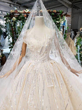 Load image into Gallery viewer, special strapless wedding dress with wedding veil sleeveless sexy princess bridal dresses shiny robe de mariag