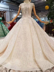 luxury new wedding dresses o-neck crystal cap sleeves ball gown hand working wedding gowns high quality vestido de novia