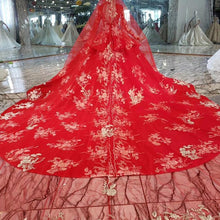 Load image into Gallery viewer, Wedding Dress with wedding veil high-neck lace up back red wedding party dress with train suknia slubna