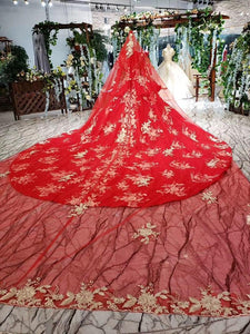 Wedding Dress with wedding veil high-neck lace up back red wedding party dress with train suknia slubna