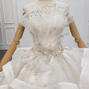 Wedding Dress Brides Strapless Lace Wedding Dress Beading Luxury