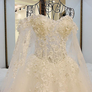 New Ball Gown Court Train White Lace Bridal Wedding Dress With Cape Wedding Gown Vestido De noiva De Renda