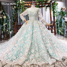 Load image into Gallery viewer, light blue evening dress long color flowers o-neck long sleeves green evening gown pink dress bridal vestidos formales