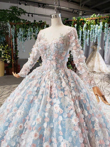light blue evening dress long color flowers o-neck long sleeves green evening gown pink dress bridal vestidos formales
