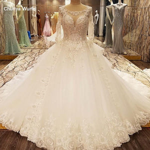 elegant wedding dresses with sleeves O neck ball gown open back corset wedding gown with train vestido longo