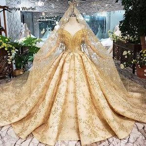 Golden lace Wedding Dress with wedding veil v-neck crystal tassel princess bridal dresses for girl vestidos de novia