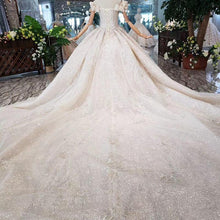 Load image into Gallery viewer, Special off shoulder Wedding Dresses with wedding veil lace up back handmade beaded bridal dress