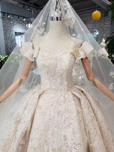 Special off shoulder Wedding Dresses with wedding veil lace up back handmade beaded bridal dress