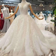 Load image into Gallery viewer, elegant princess beauty wedding dress high neck cap sleeves appliques long train wedding gown new real price high quality
