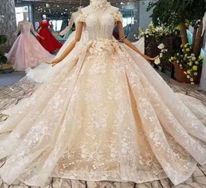 flowers collar wedding dresses off the shoulder sweetheart appliques bride dress wedding gown princess fairy