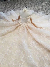 Load image into Gallery viewer, flowers collar wedding dresses off the shoulder sweetheart appliques bride dress wedding gown princess fairy