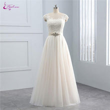 Load image into Gallery viewer, Simple Style Silky Organza Scoop A-Line Wedding Dress Sleeveless Illusion Back Natural Waist Bridal Gowns Custom Made