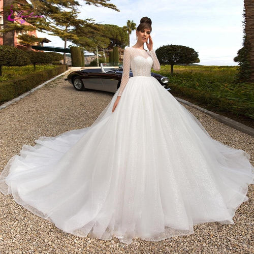 Scoop Neckline Of A-Line Wedding Dresses With Criss-Cross Beading Pearls On Bust Wedding Gown