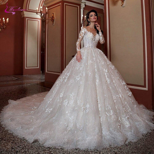 Lace Wedding Dress Ball Gown Chapel Train With 3d Flowers