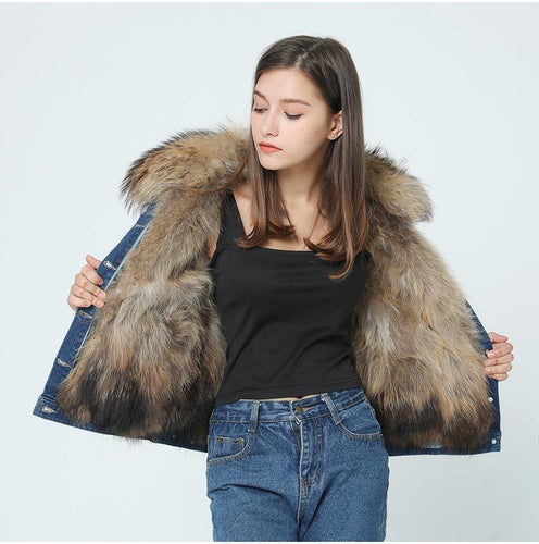 Casual winter jacket women Holes denim jacket fur coat real raccoon fur collar natural raccoon fur liner parka