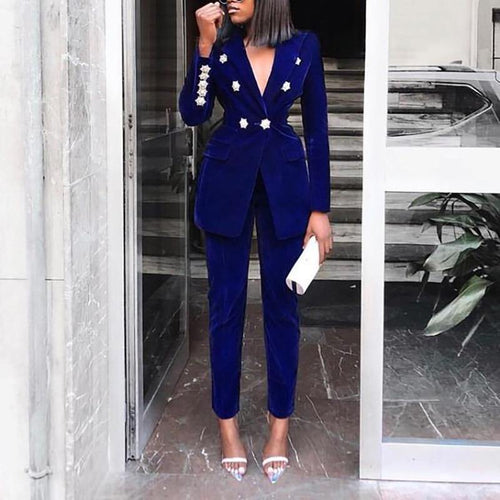 High Quality Blue Long Sleeve Botton 2 Pieces Set Fashion Set Evening Party Set