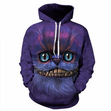 Load image into Gallery viewer, Autumn Winter Thin Stylish 3d Sweatshirts Men/Women Hoodies With Hat Print Cheshire Cat Hooded Hoody Tops - moonaro