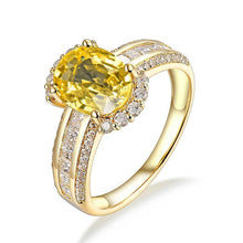 Load image into Gallery viewer, Solid 18K Yellow Gold Genuine Yellow Sapphire Gemstone Wedding Ring Jewelry SI Diamonds For Wife Gift