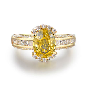 Solid 18K Yellow Gold Genuine Yellow Sapphire Gemstone Wedding Ring Jewelry SI Diamonds For Wife Gift