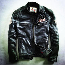 Load image into Gallery viewer, motorcycle rider jacket, slim men's genuine leather jacket man's genuine leather coat - moonaro