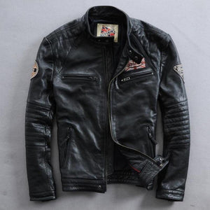 motorcycle rider jacket, slim men's genuine leather jacket man's genuine leather coat - moonaro