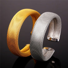 Load image into Gallery viewer, Stainless Steel Bracelets & Bangles Gold Color Big Mesh Cuff Bracelet For Men women Party Jewelry