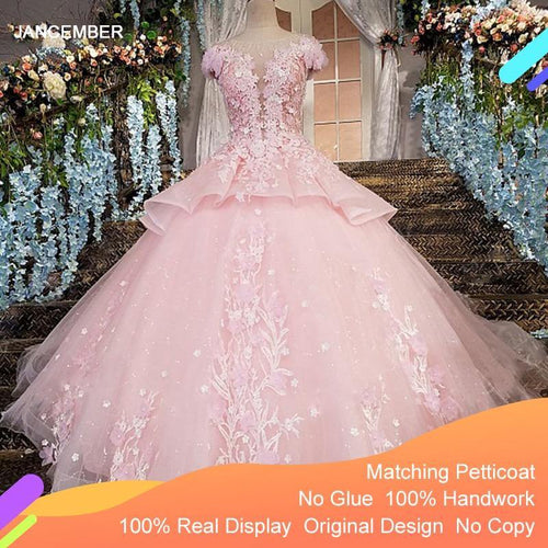 3D flowers luxury pink evening dresses zipper back floor length cap sleeves ball gown