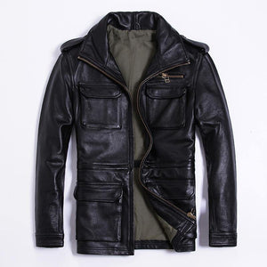 genuine cow leather clothing male turn-down collar slim jacket thickening cowhide outerwear - moonaro