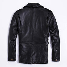 Load image into Gallery viewer, genuine cow leather clothing male turn-down collar slim jacket thickening cowhide outerwear - moonaro