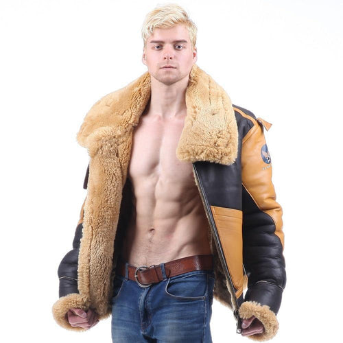 B3 shearling Leather jacket  Bomber Fur Royal Super High Quality most warm Polar Fur Leather Jacket Coat For Men