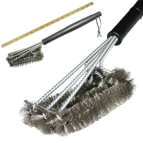 Grill Cleaning Brush BBQ tool Grill Brush 3 Stainless Steel Brushes In 1 Provides Effortless Cleanin BBQ
