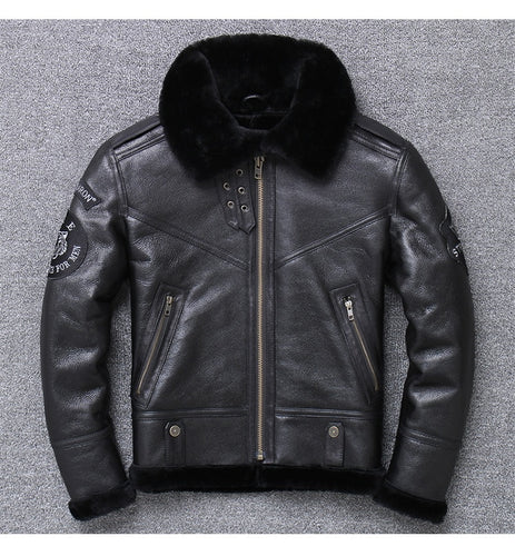 man's genuine leather jacket.black 100% shearling coat sheepskin+wool winter warm clothes