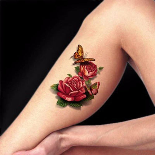 1pcs 3D Tattoo Body Art Chest Tattoo Sleeve Stickers Glitter Temporary Tattoos Removal Fake Small Rose Design For Body Tattoos