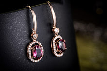 Load image into Gallery viewer, 18K white gold 1.5 CT Certified Genuine Red tourmaline drop Earrings with 0.25 ct diamond earrings - moonaro