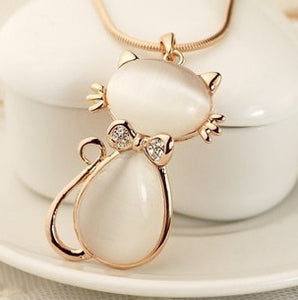 Korean luxury rhinestone opal cute cat  long necklace women sweater accessories wholesale collier femme/neckless/colar/collana