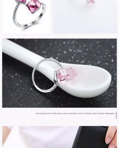 Luxury Austria Rose 925 Sterling Silver Wedding Open Ring For Women Romantic Adjustable Silver Ring Bridal Fashion Jewelry